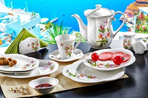 Noble Life Kamelya 38 Parça Porselen Kahvaltı Tkm Renkli